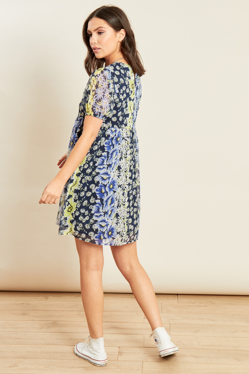 Blue Floral Print Mini Smock Dress with Puff Sleeves