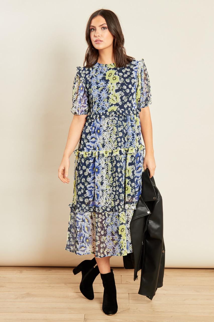Blue Floral Print Midi Tiered Ruffle Detail Smock Dress