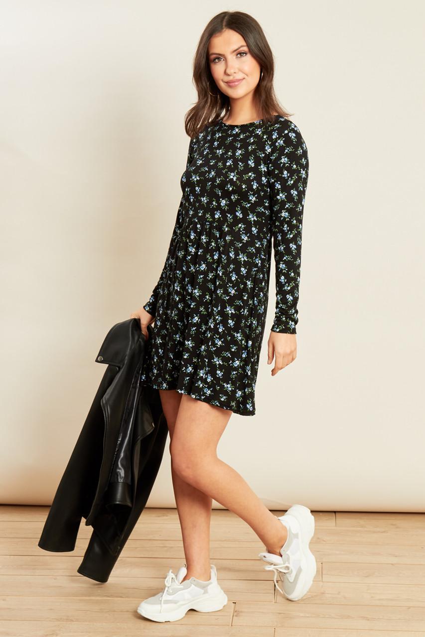 Black Jersey Ditsy Long Sleeve Mini Swing Dress