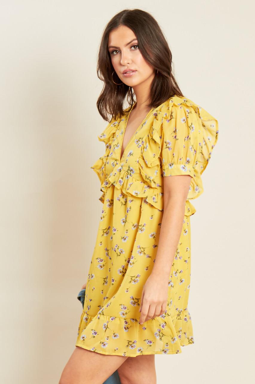Yellow Floral Georgette Ruffle Detail Mini Dress