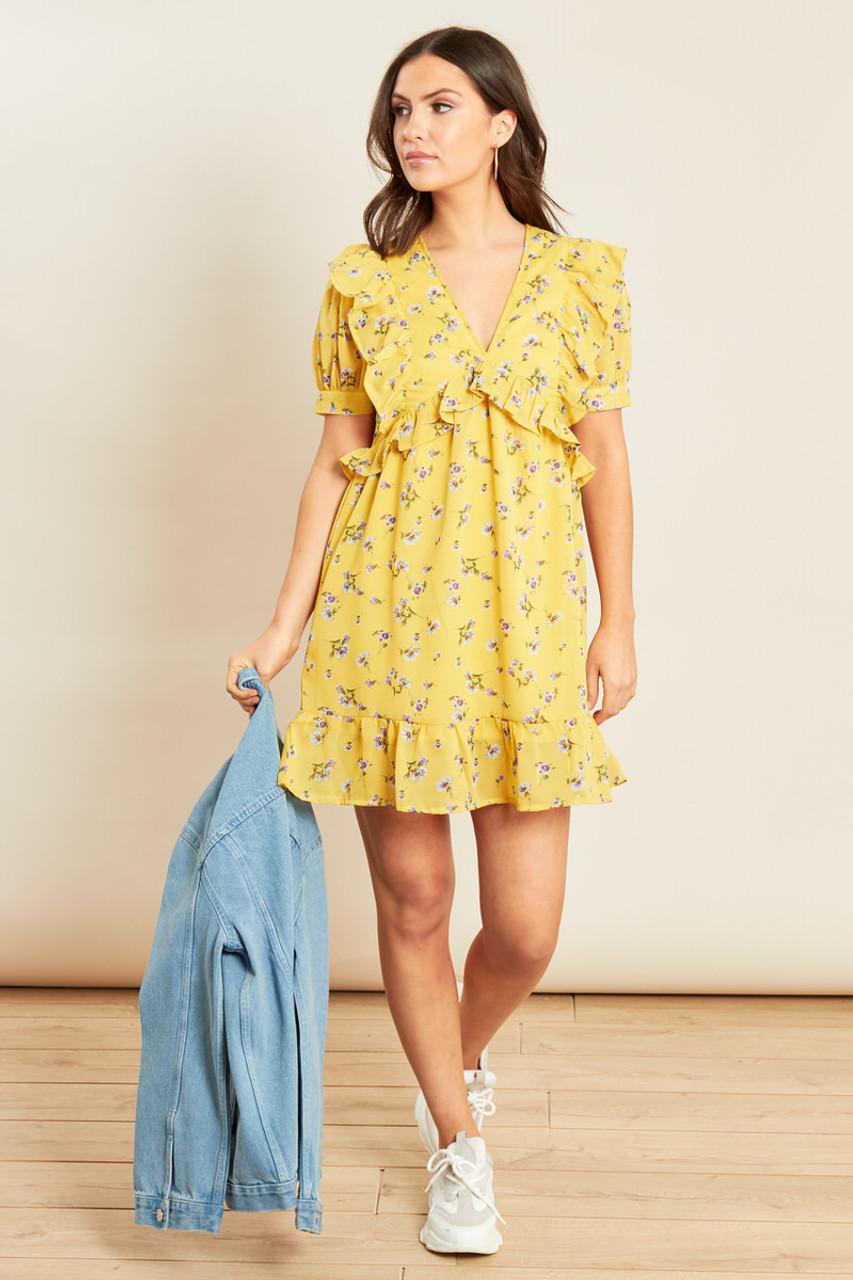 Yellow Floral Georgette Ruffle Detail Mini Dress