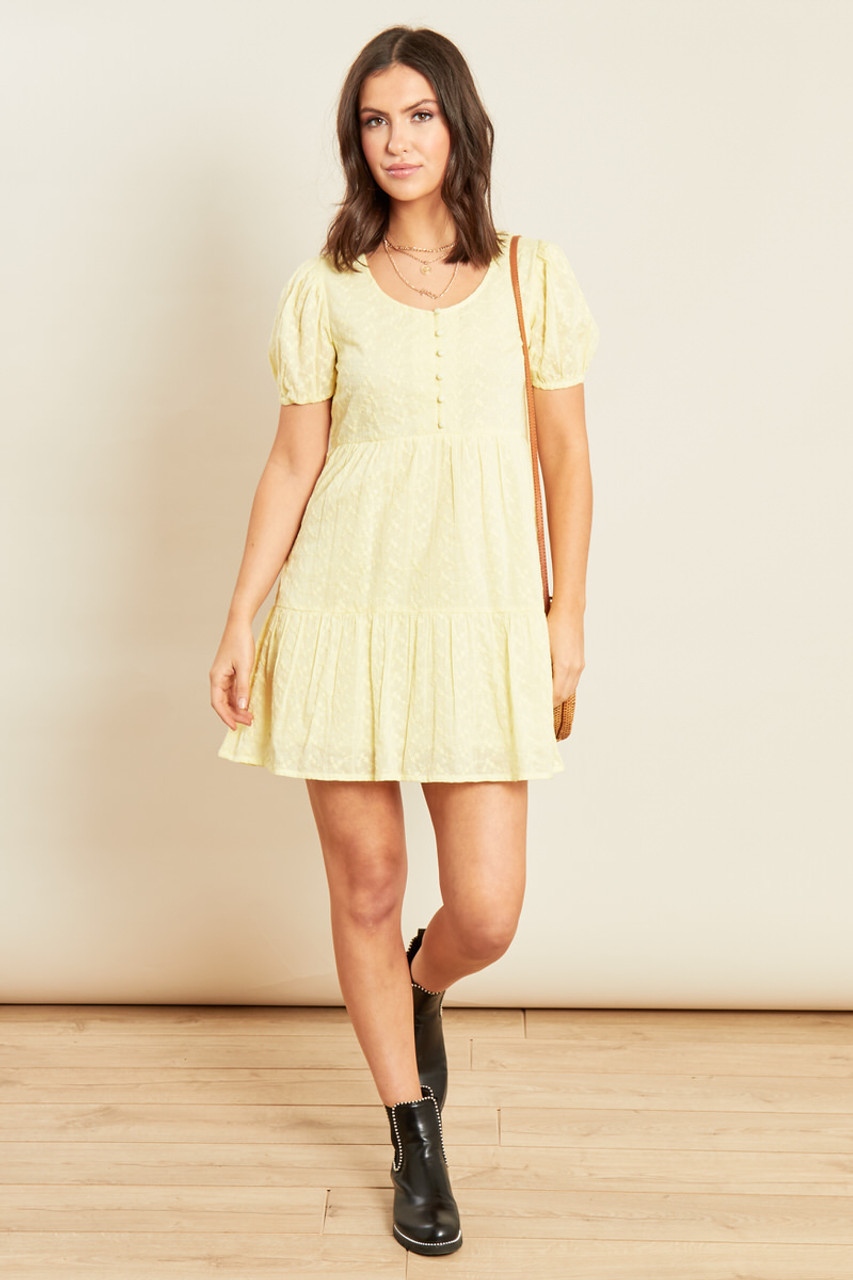 Yellow Broderie Anglais Tiered Mini Smock Dress