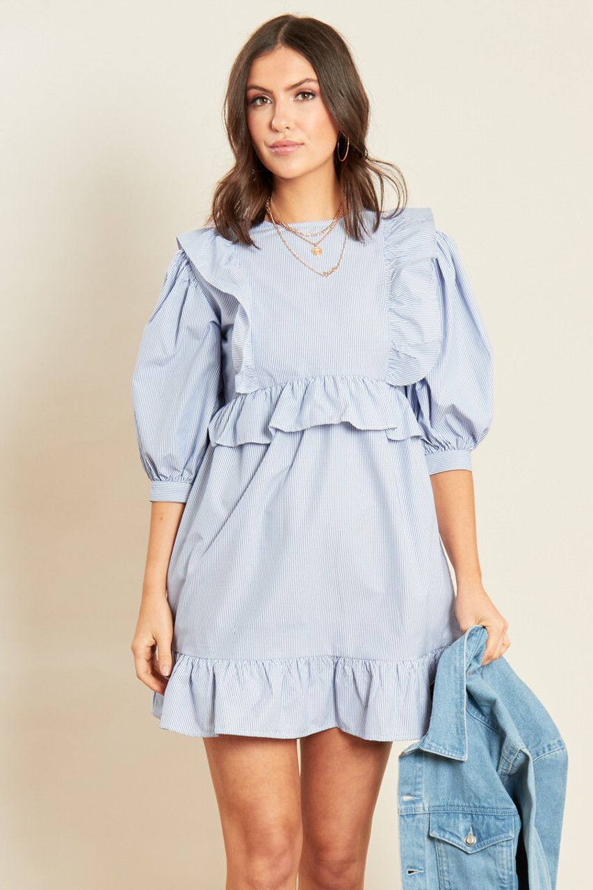 Blue Stripe Cotton Ruffle Hem Smock Dress