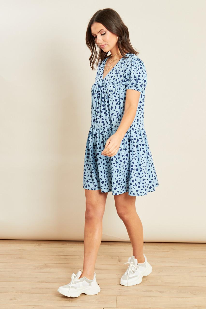 Blue Animal Print Button Down Smock Dress