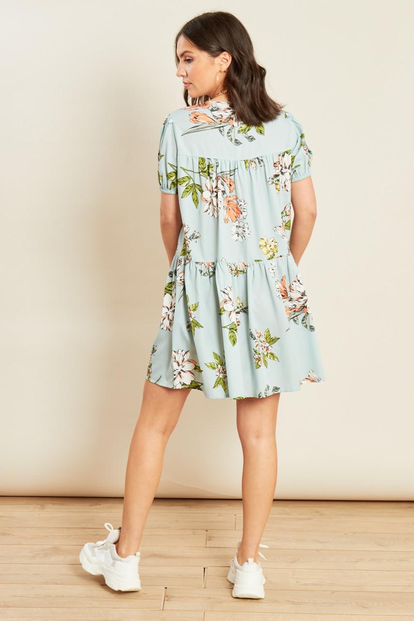 Blue Floral Print Button Down Smock Dress
