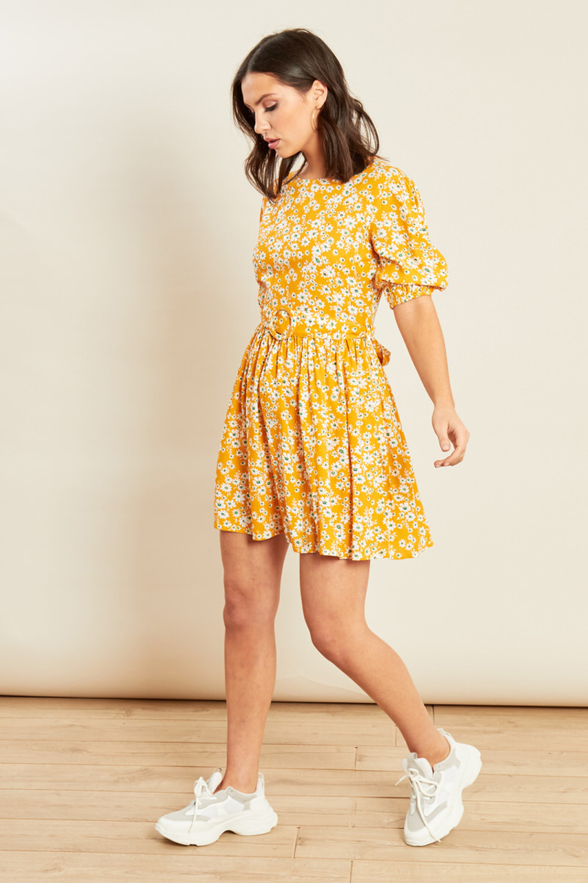 Yellow Floral Print Belted Puff Sleeve Dress