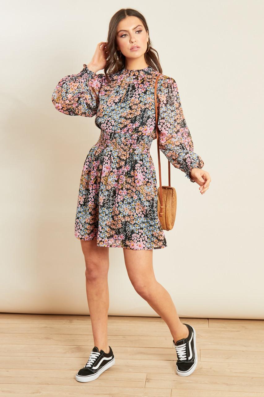 Pink Black Ditsy Print High Neck Shirred Waist Mini Dress