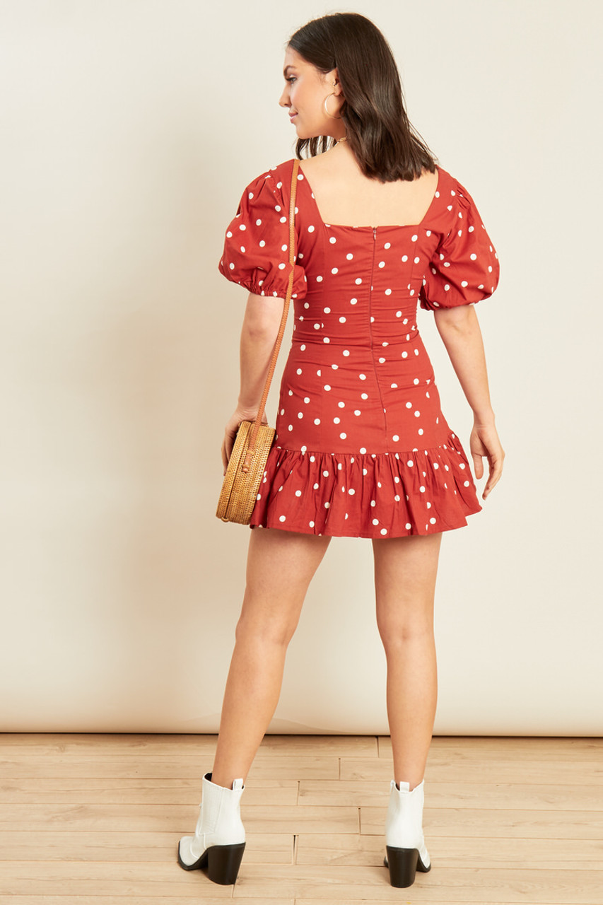 Rust White Spot Cotton Puff Sleeve Mini Dress