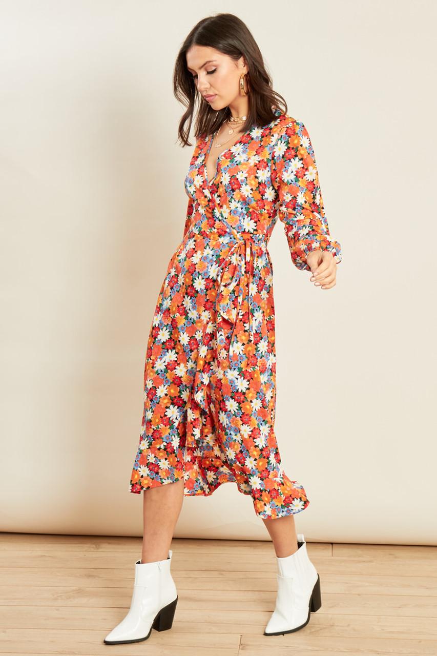 Multi Floral Print Ruffle Hem Wrap Midi Dress