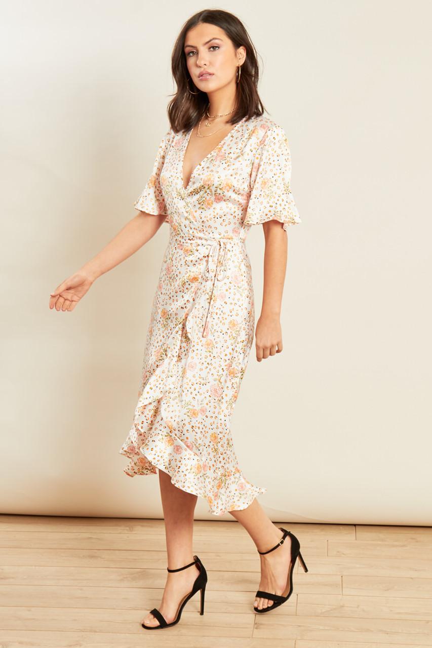 Multi Animal and Floral Print Satin Wrap Frill Hem Midi Dress