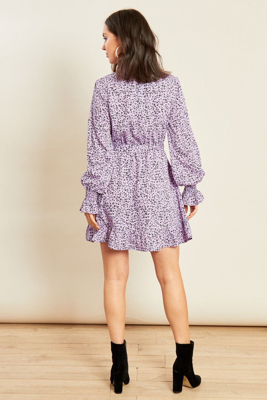 Lilac Ditsy Floral Shirred High Neck and Cuff Ruffle Hem Belted Mini Dress