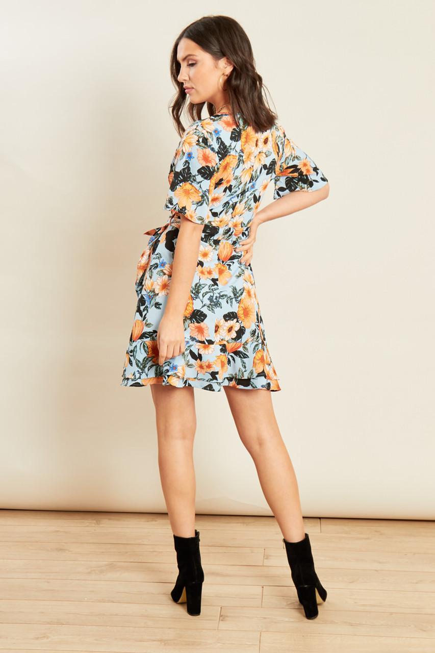 Blue Floral Print Wrap Frill Skater Mini Dress