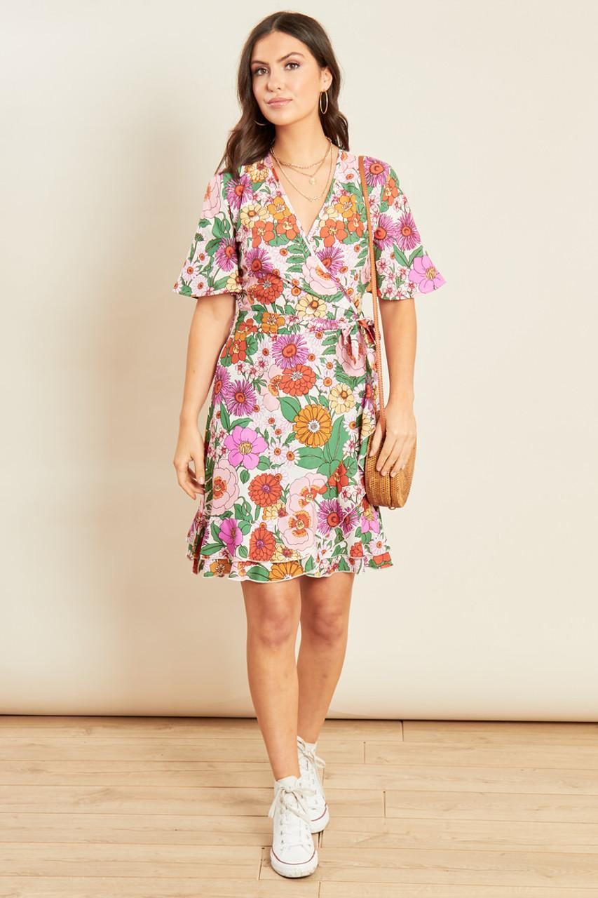 Multi Floral Print Wrap Frill Skater Mini Dress