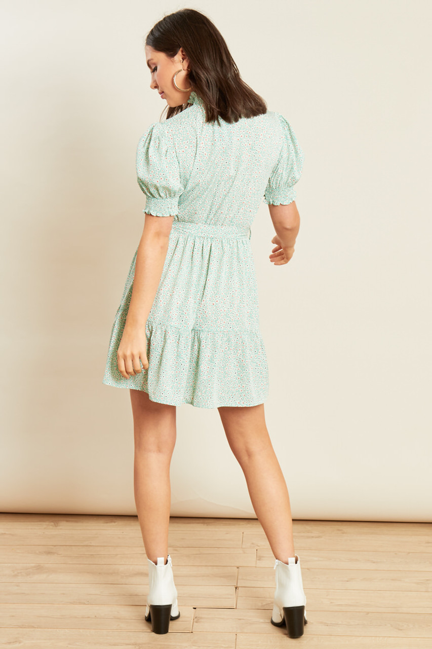 Mint Ditsy Floral Shirred High Neck Tiered Mini Skater Dress
