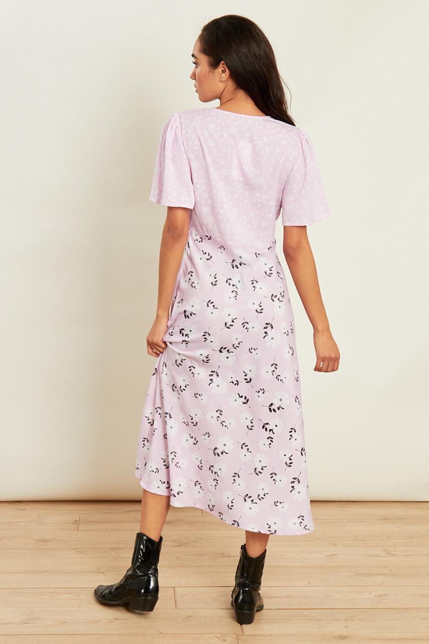 Pink Mixed Print Short Sleeve Midi Tea Dress