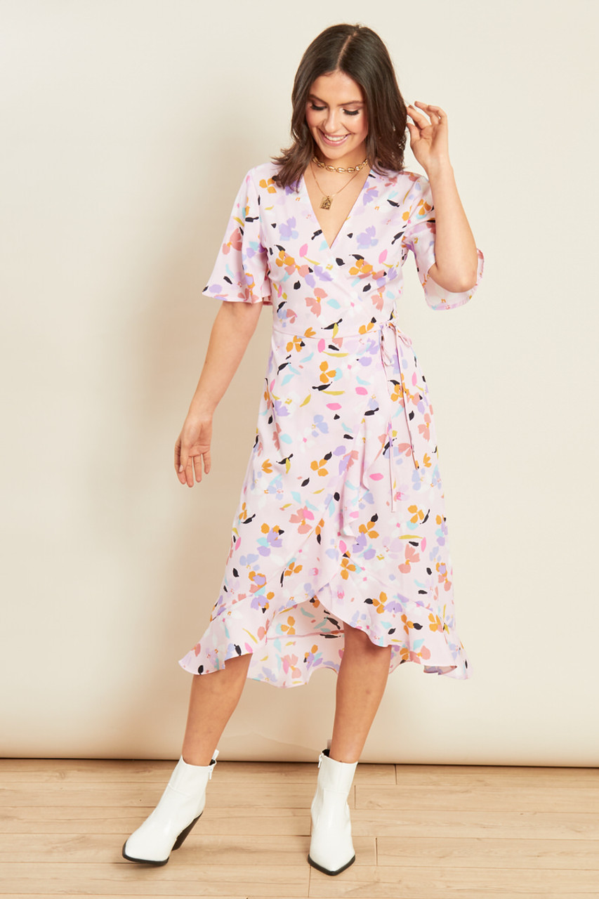 Pink Abstract Print Ruffle Wrap Frill Hem Midi Dress