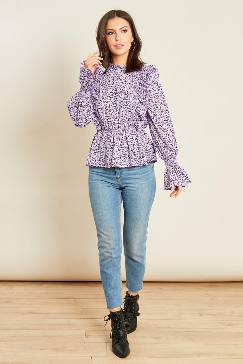 Lilac Ditsy Shirred Neck Peplum Hem Long Sleeve Top
