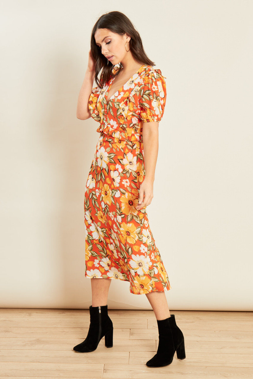Multi Floral Print Midi Dress with Ruffles and Puff Sleeves