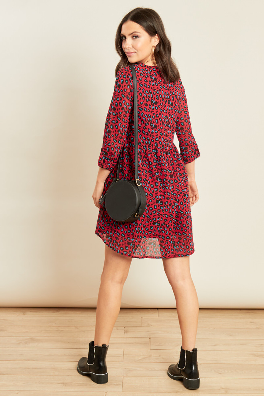 Wine Leopard Georgette V Neck Mini Smock Dress