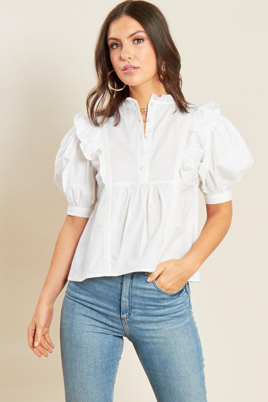 White Cotton Button Detail Peplum Hem Top with Puff Sleeve Ruffle Detail