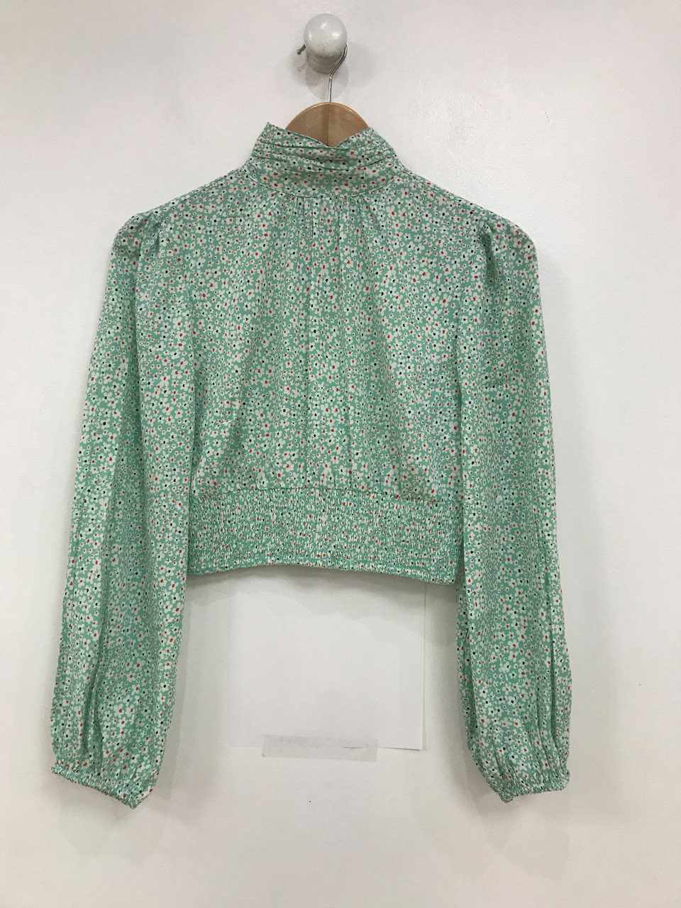 Mint Floral Print High Neck Shirred Waist Balloon Sleeve Crop Top
