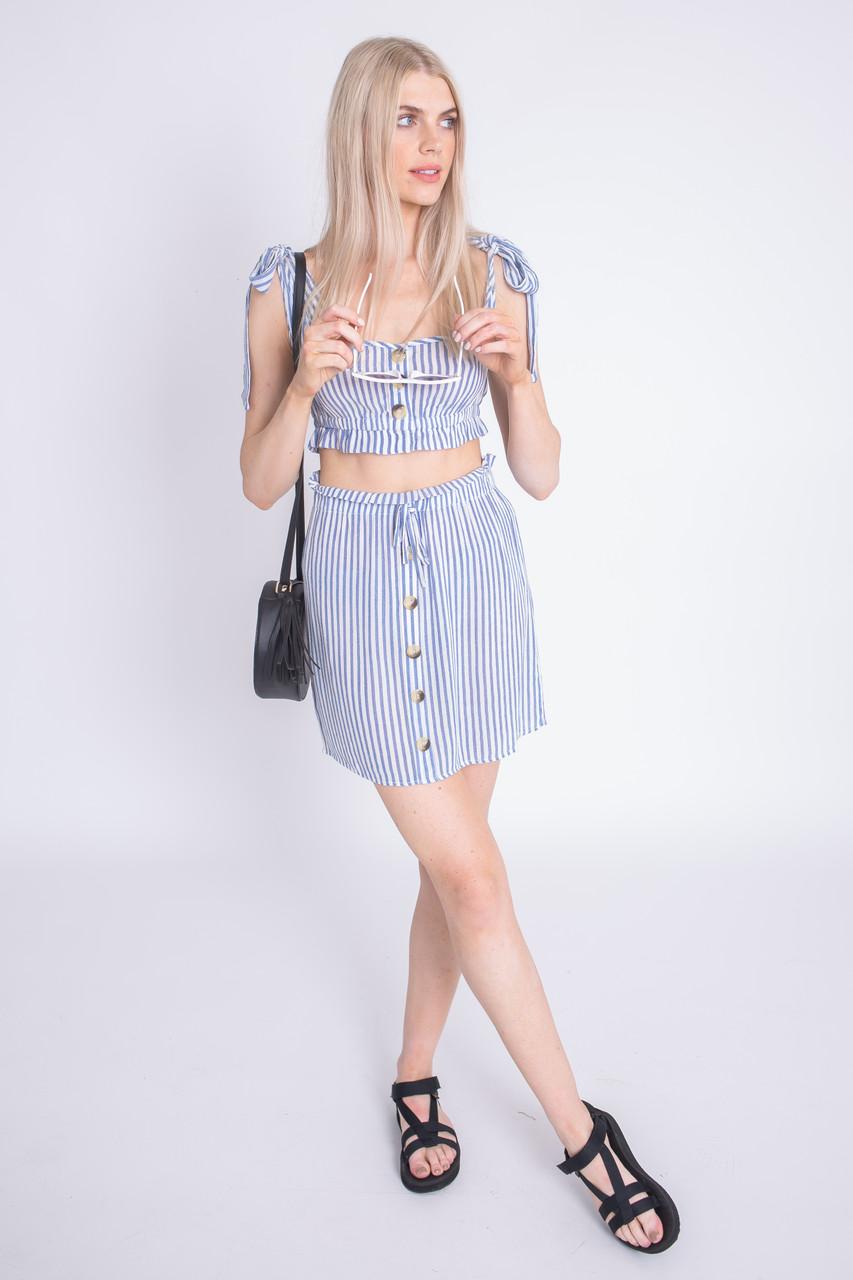 Blue Stripe Button Detail Mini Skirt