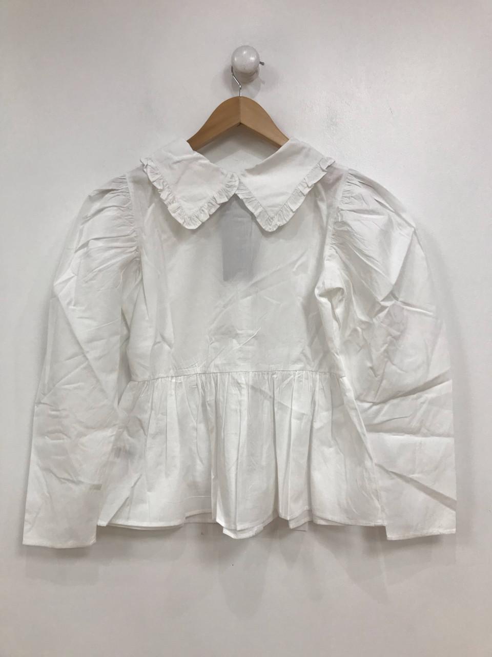 White Cotton Poplin Collared Long Sleeve Shirt