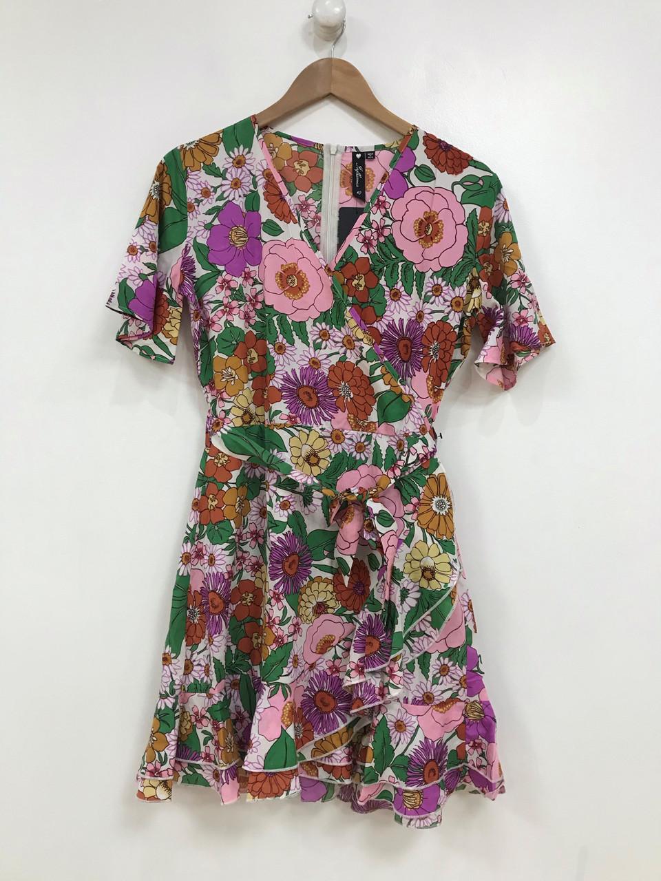 Multi Floral Wrap Dress