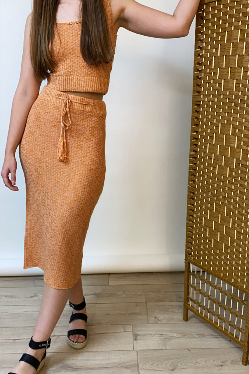 Rust Midi Skirt With Tie Waist In Marl Knit Co-Ord