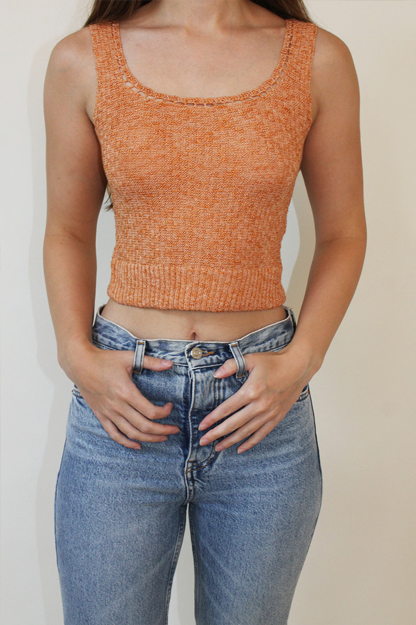Rust Crop Cami Top In Marl Knit Co-Ord