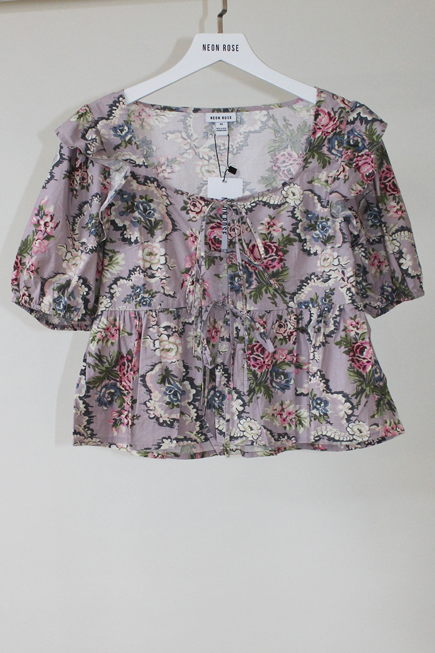 Purple Esme Tapestry Puff Sleeves And Tie Front Milkmaid Top