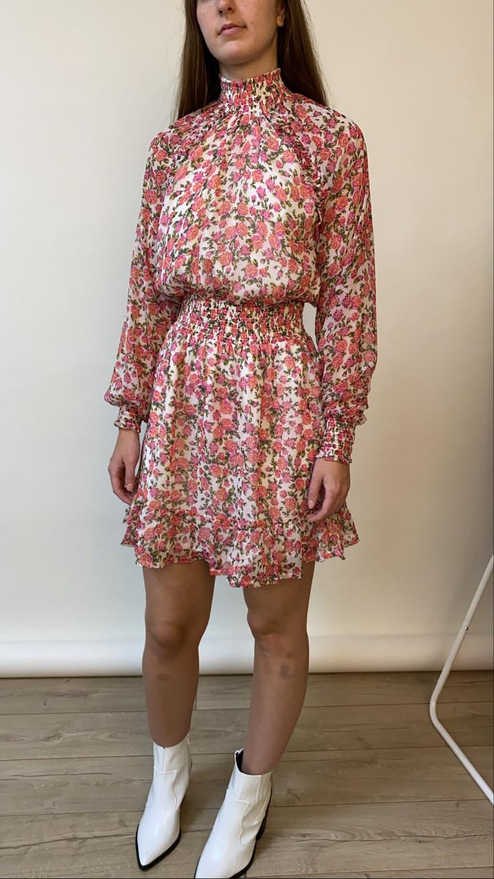 Pink Mabel Ditsy Rose High Neck Ruffle Frill Mini Dress