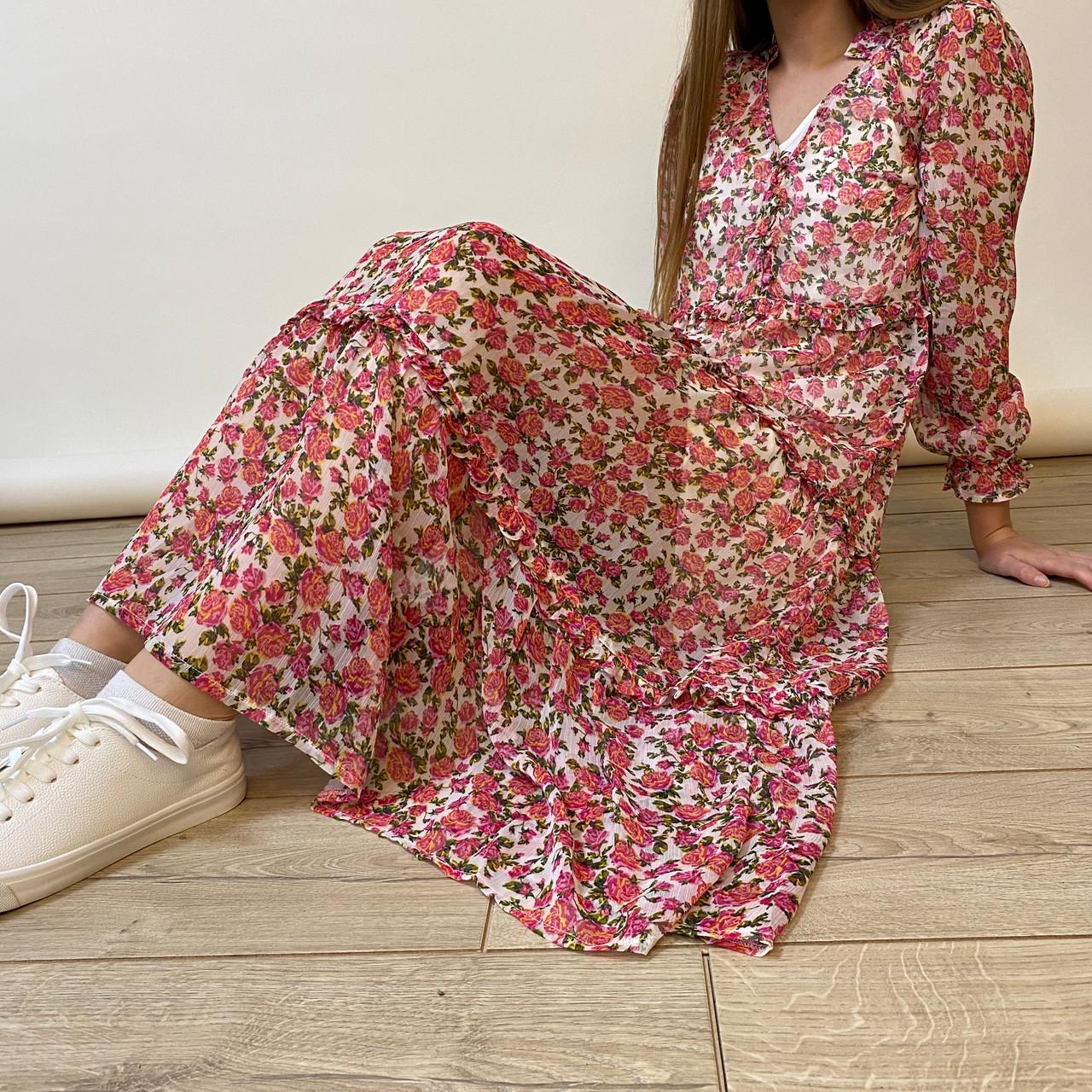 Pink Mabel Ditsy Rose Oversize Smock Tired Maxi Dress