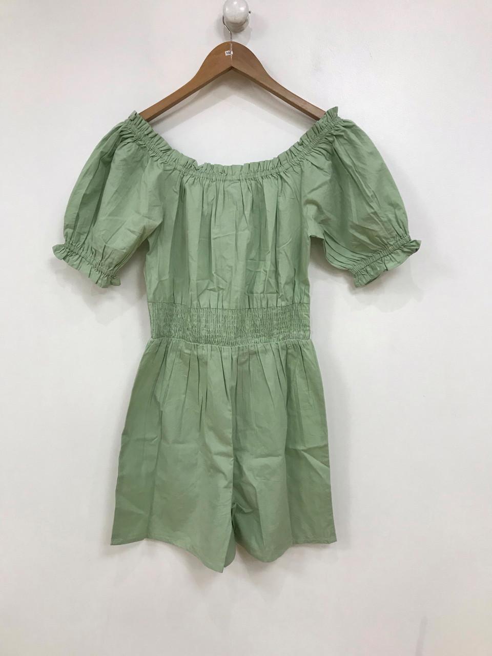 Sage Green Cotton Playsuit