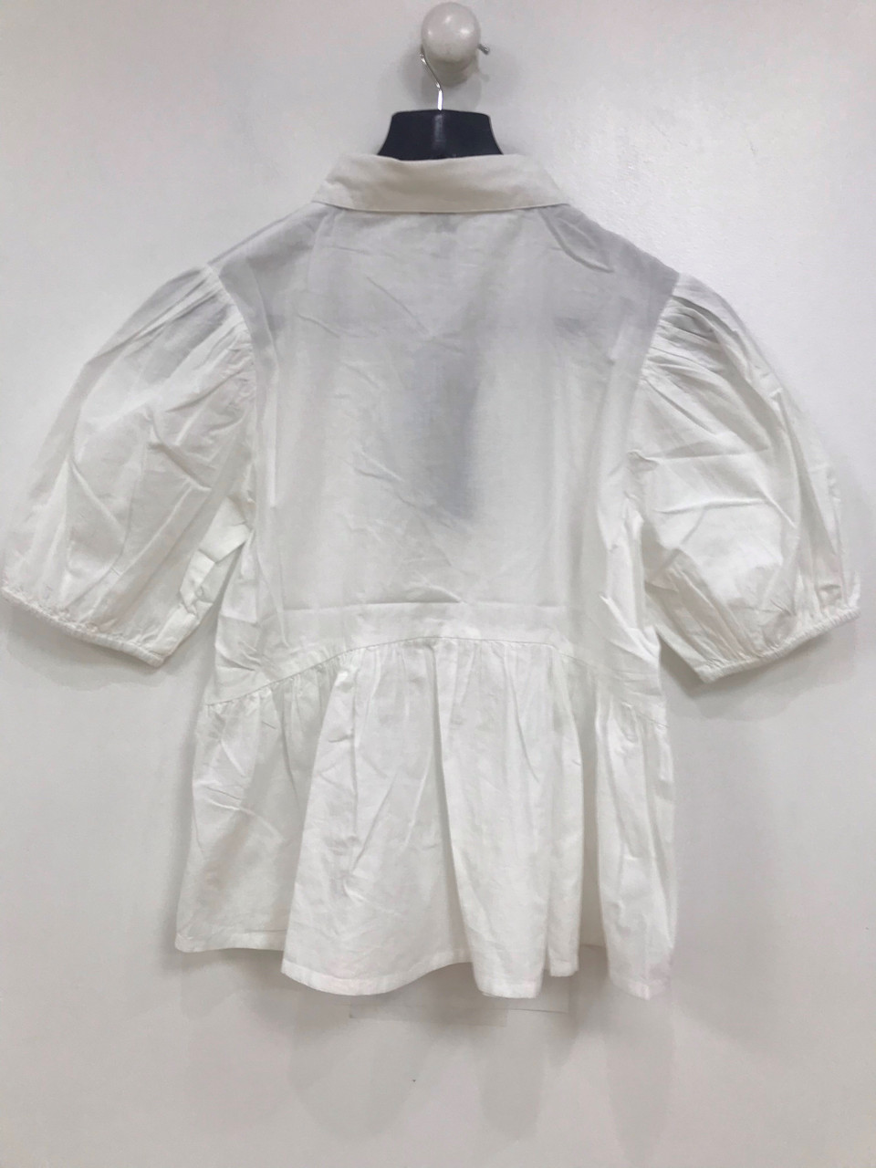 White Cotton Peplum Top