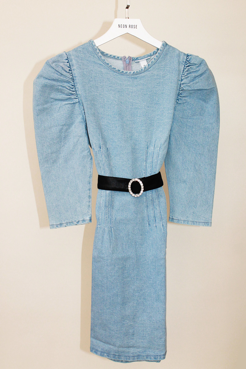 Puff Sleeves Fitted Denim Mini Dress With Embellished Belt