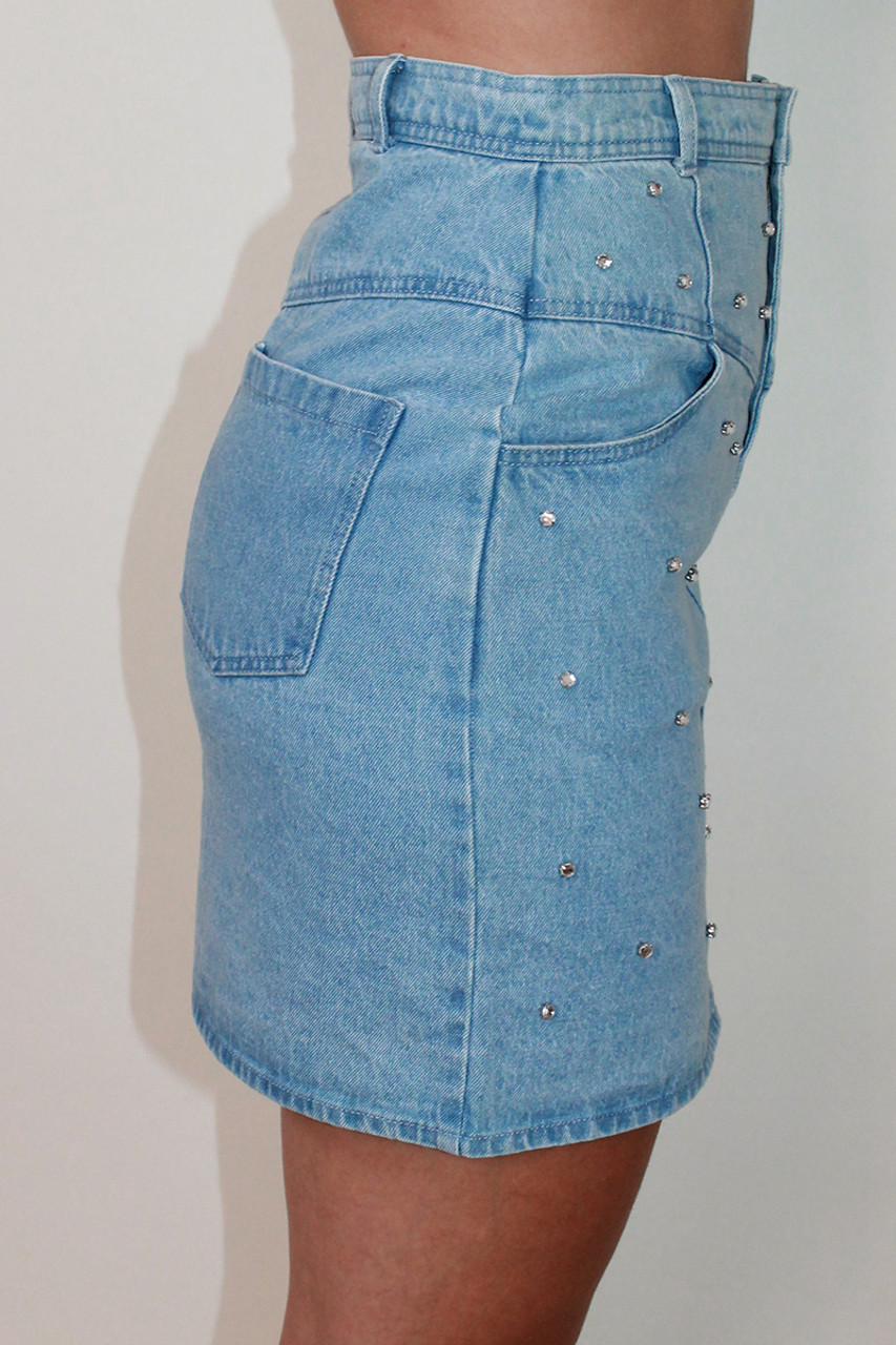 Gem Embellishment Denim Mini Skirt