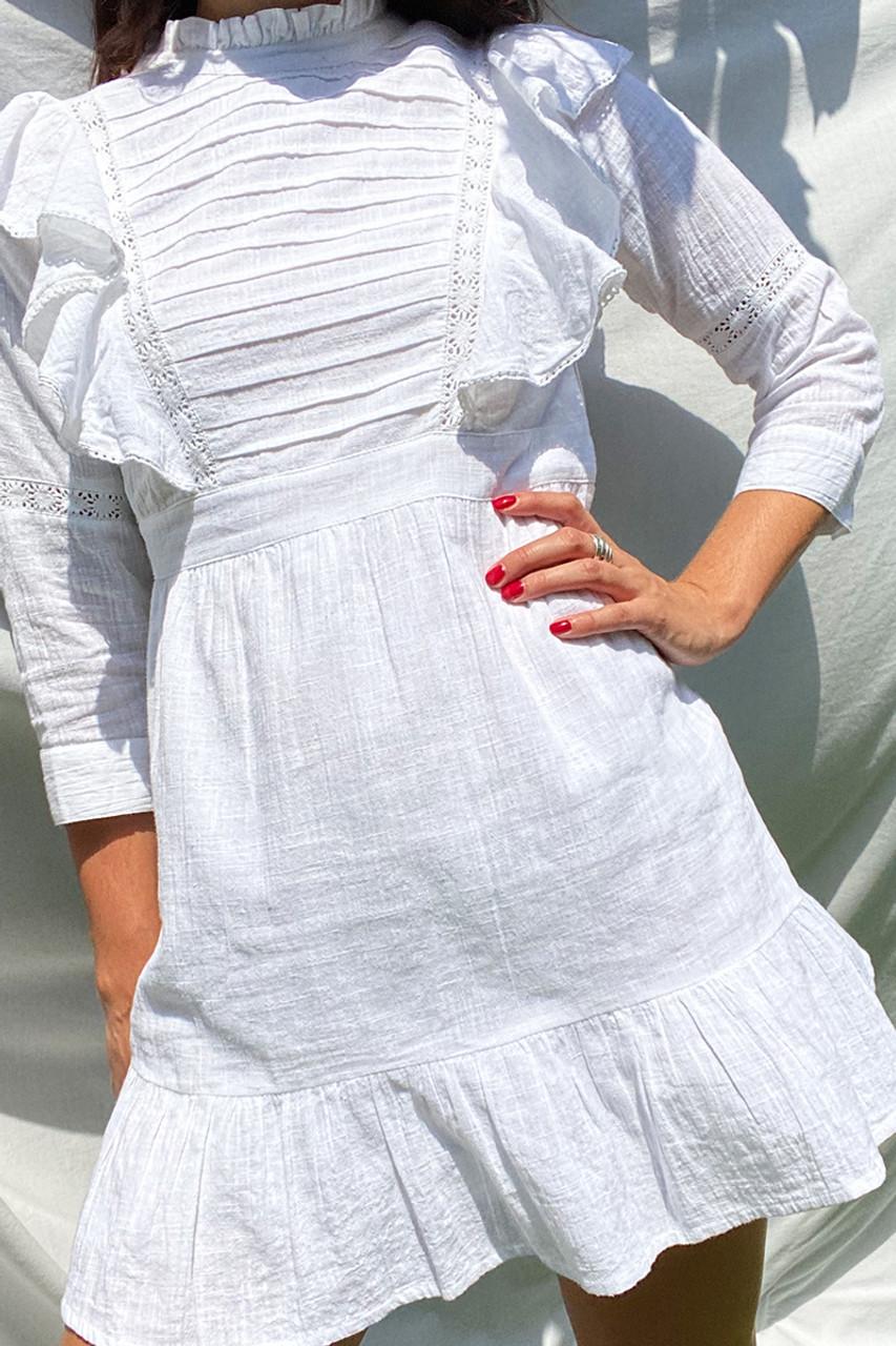 Prairie Ruffle Frilled Mini Dress White