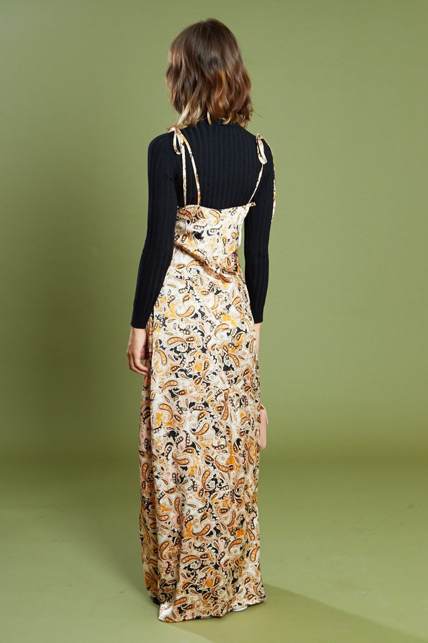 Satin Paisley Maxi Dress