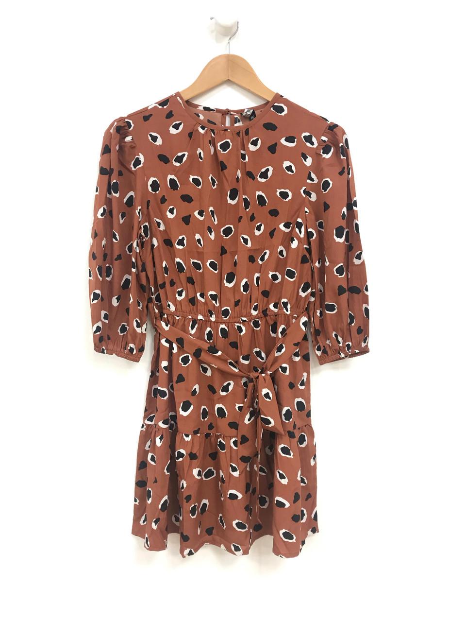 Rust Abstract Animal Print Mini Dress
