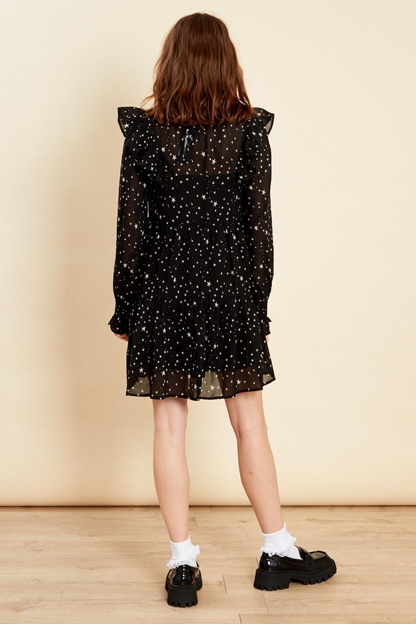 Black High Neck Frill Smock Dress
