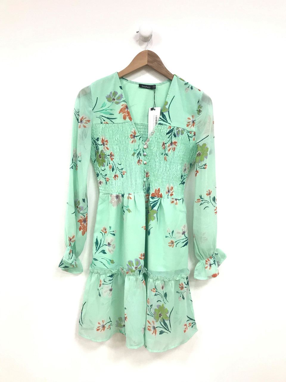 Sage Floral Shirred Button Detail Skater Mini Dress
