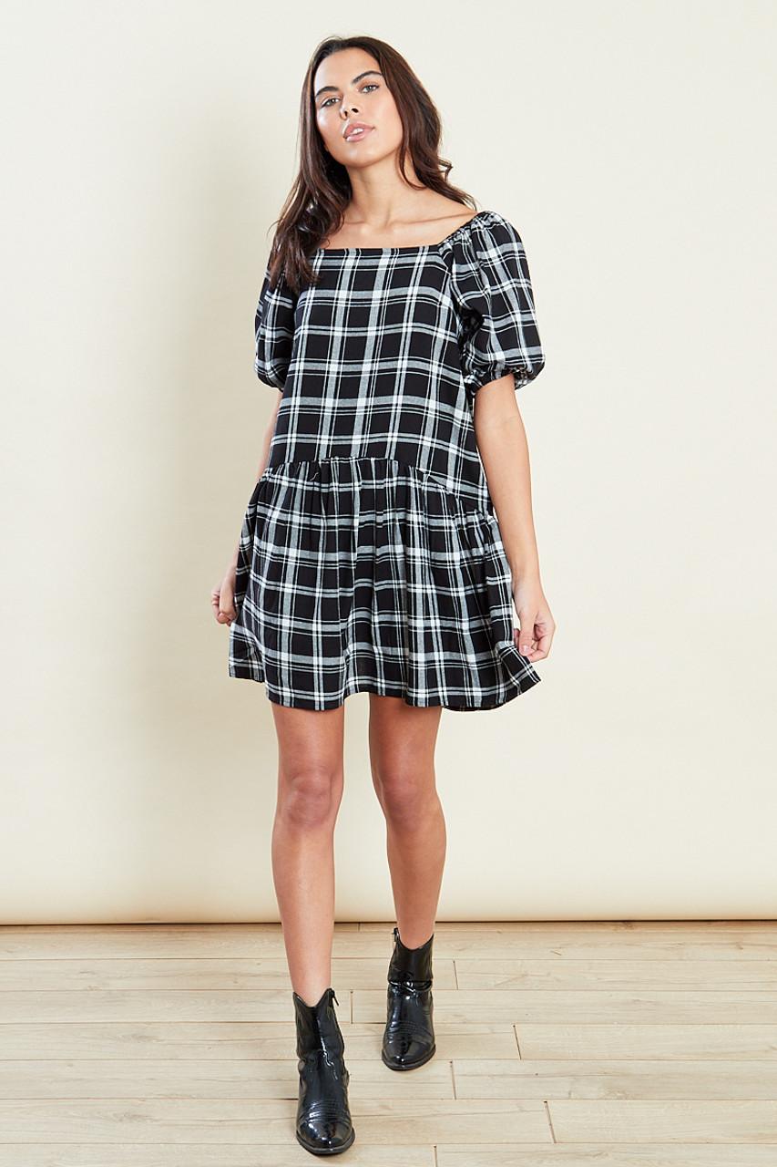 Black & White Dropped Hem Puff Sleeves Smock Mini Dress