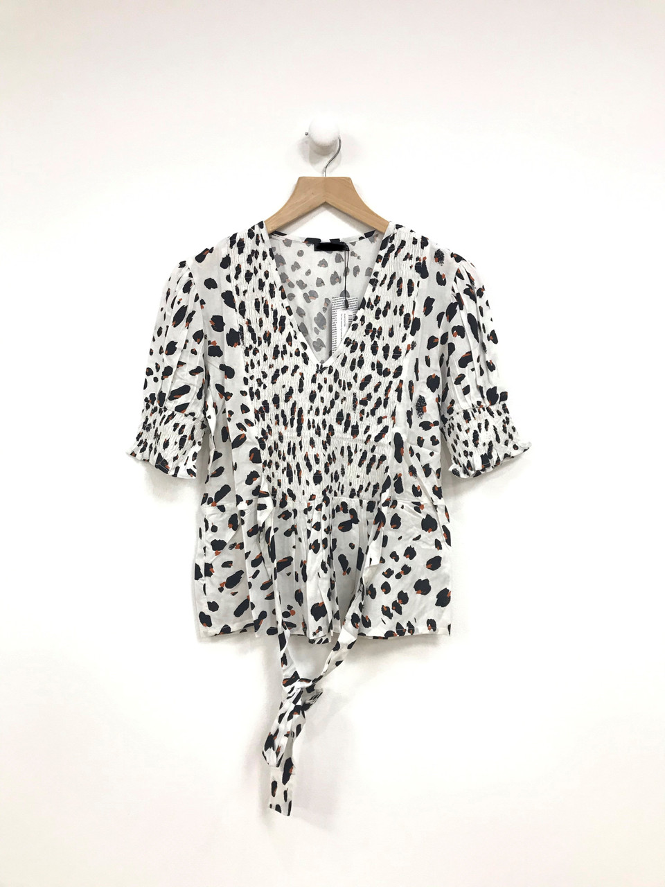 White Tie Front Abstract Spot Blouse