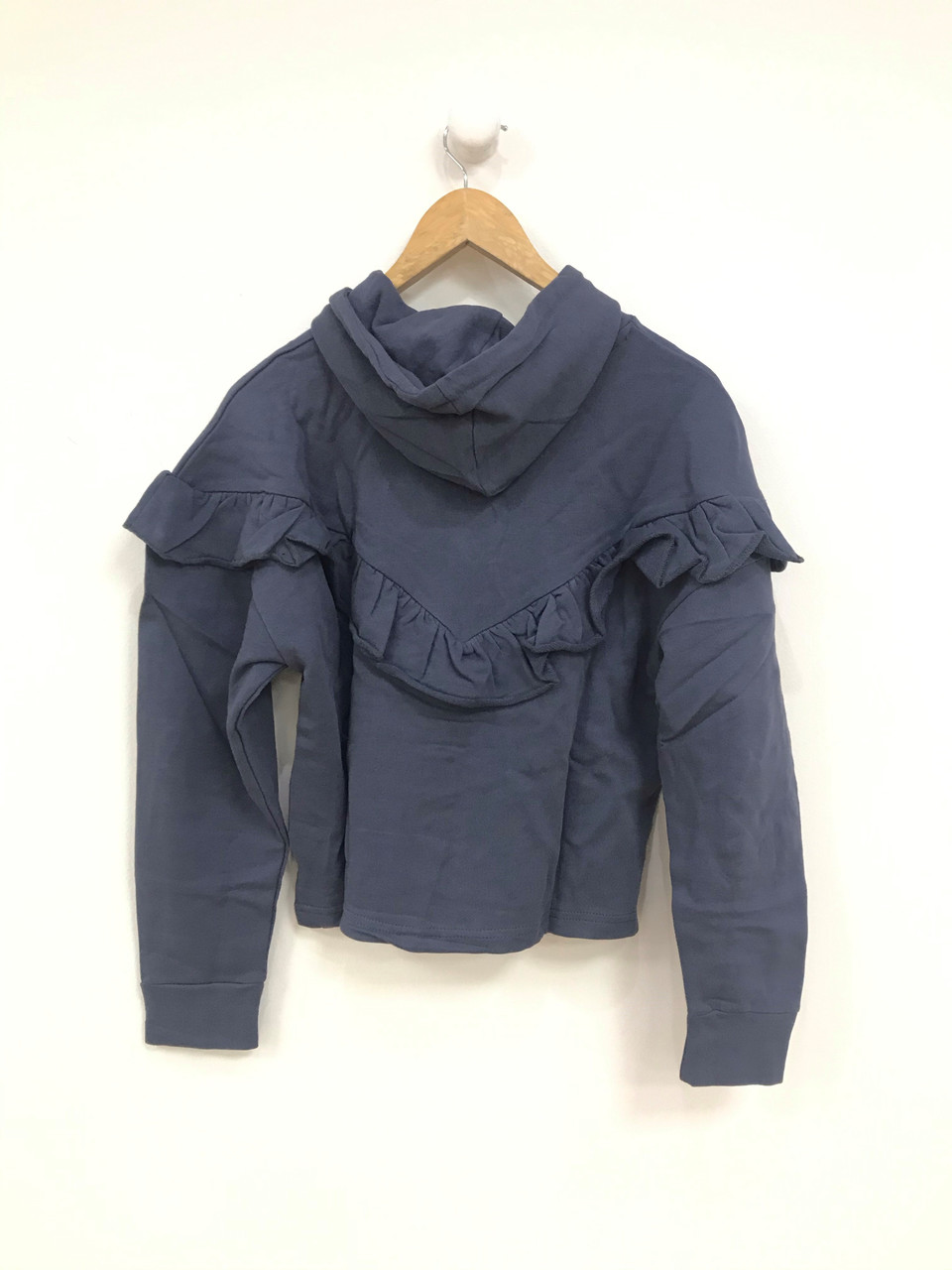 Blue Hooded Ruffle Sweat Top