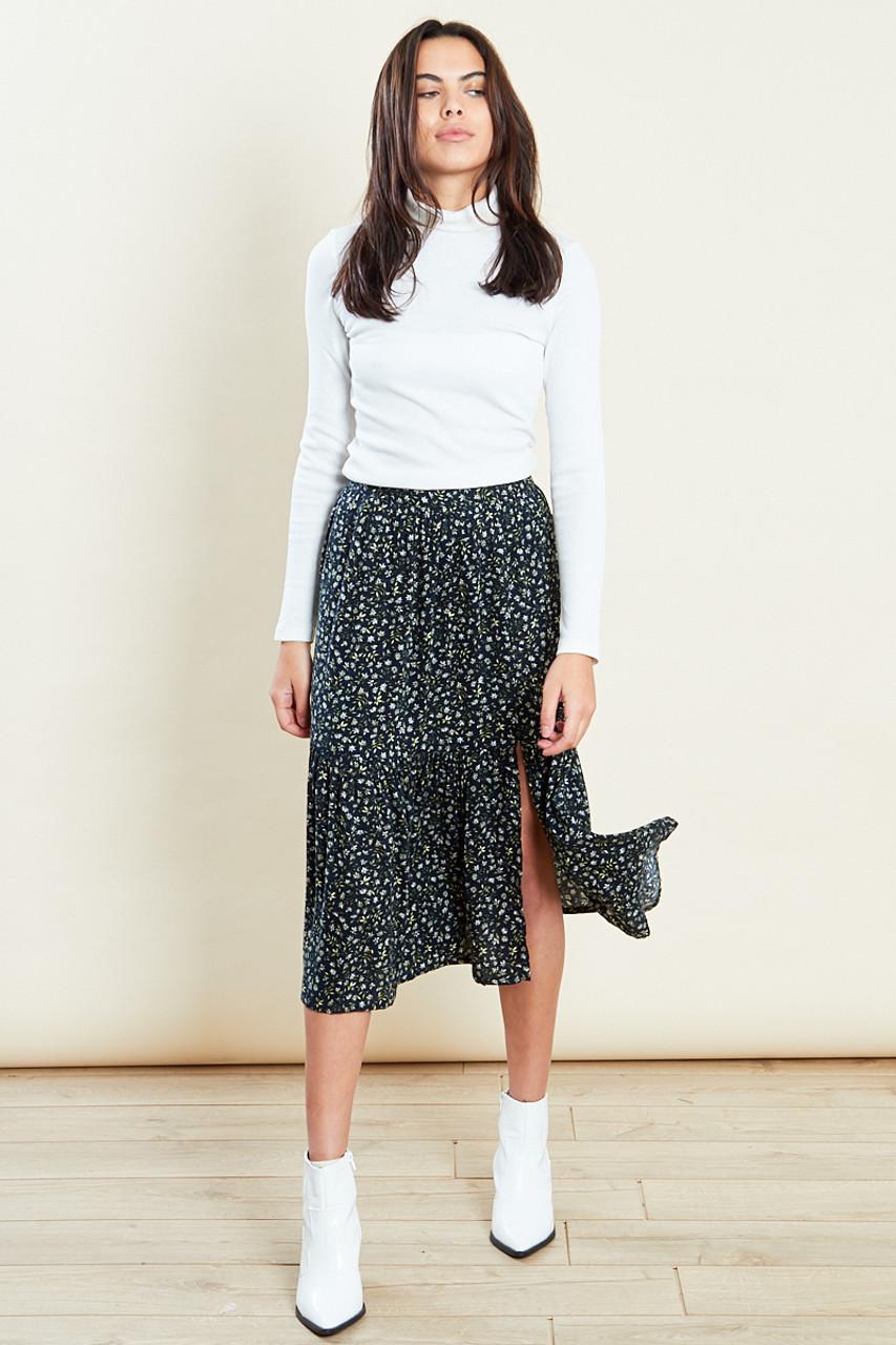 Dropped Hem Split Midaxi Skirt