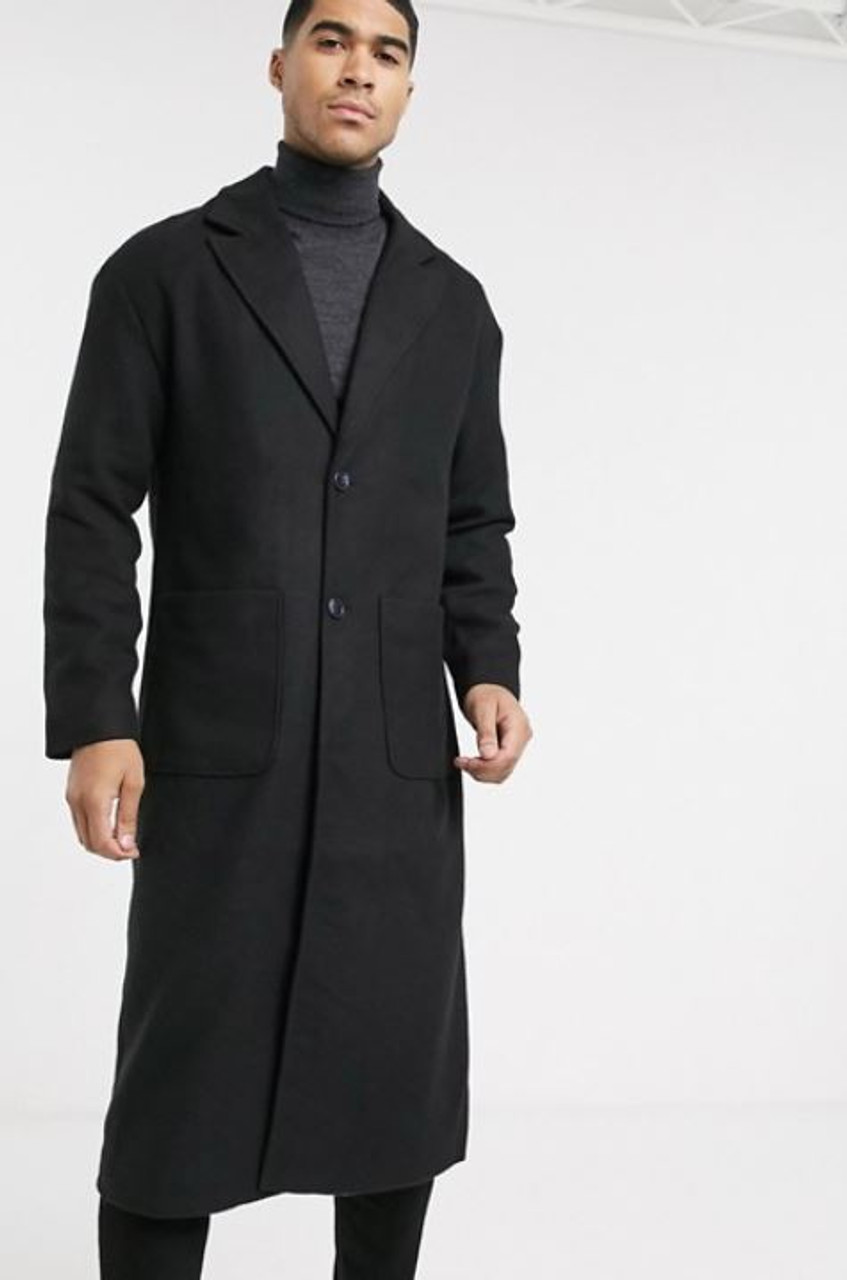Longline overcoat in black