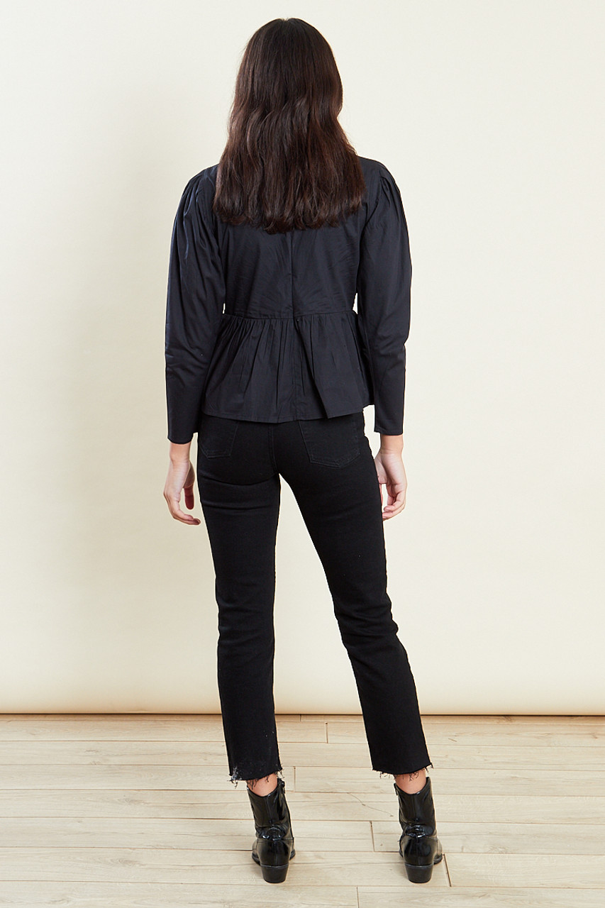Black Long Sleeves Cotton Top