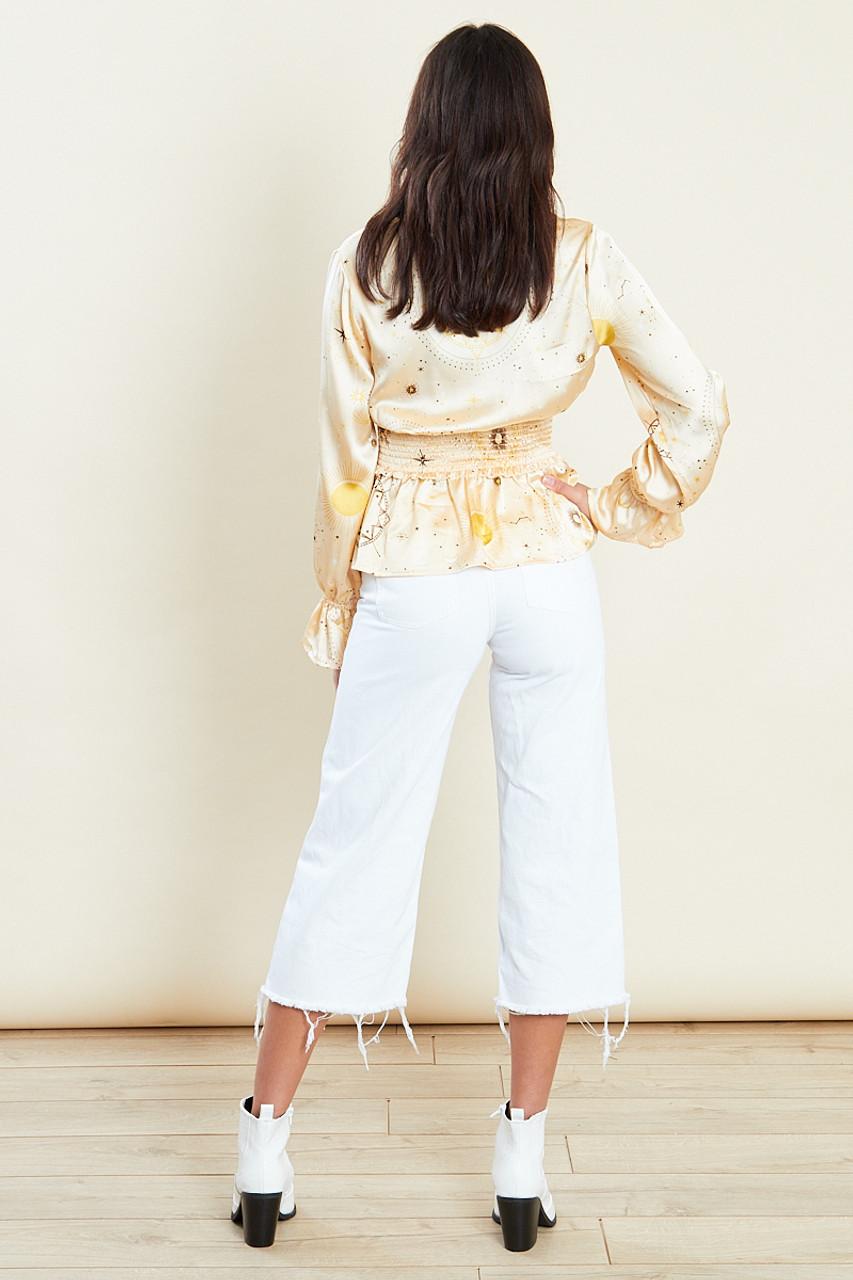Satin Gold Shirred Waist Wrap Top