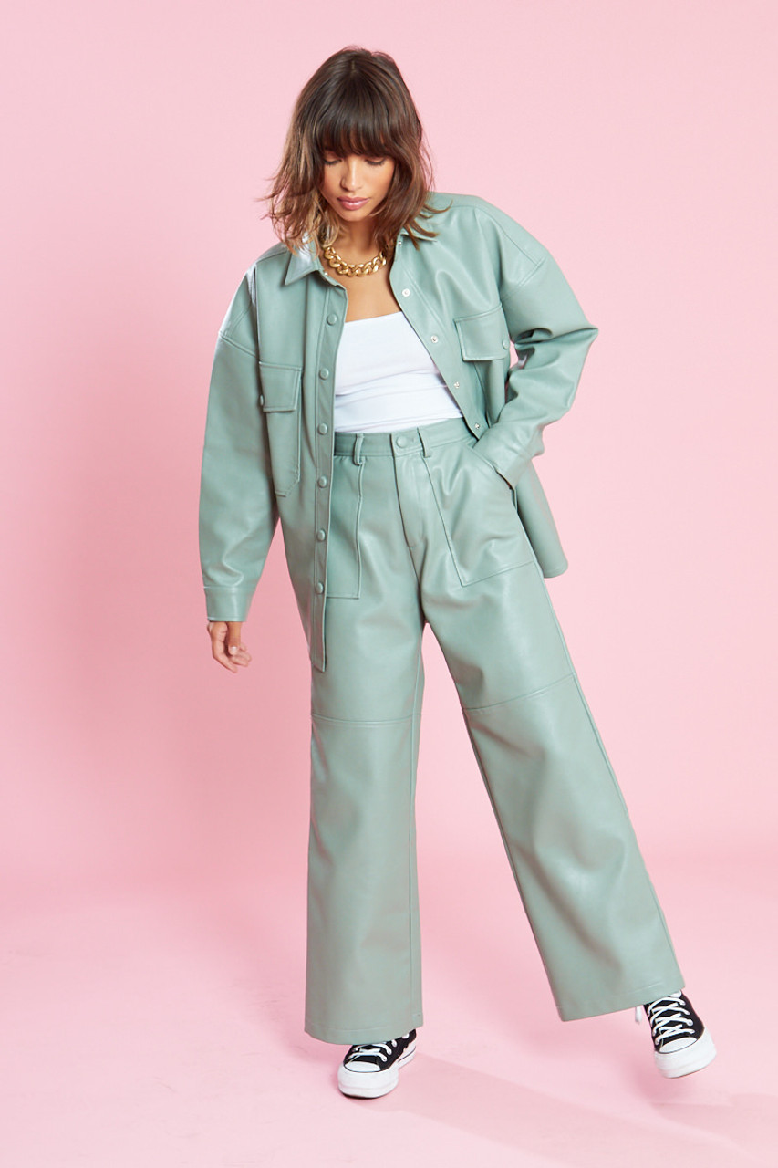 Sage Green PU Wide Leg Trousers With Pocket Detailing